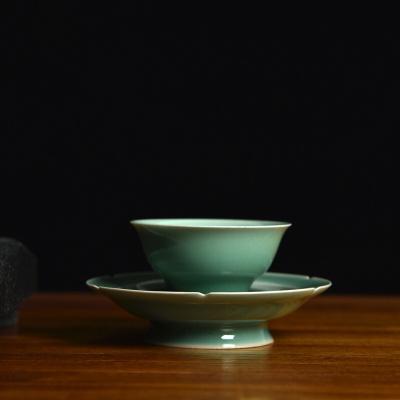 龙泉青瓷仿古高足贡盏梅子青主人杯功夫茶杯陶瓷茶盏季友泉手工杯