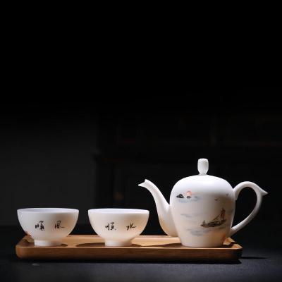 中国白瓷招财壶一壶两杯功夫茶具茶壶茶杯羊脂玉瓷茶具高端礼盒装