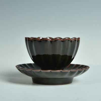 陶瓷功夫茶具品茗杯茶盏茶杯带杯托杯垫整套主人杯龙泉青瓷铁胎杯