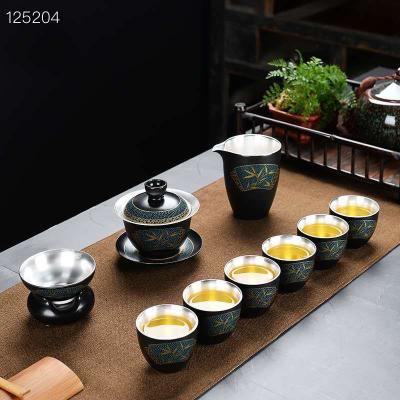 精品梅兰竹菊999鎏银茶具大套装,纯手工制作,高档礼盒,送礼首选