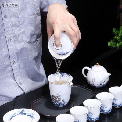 景德镇最新🔥爆款……蛟龙出海高端羊脂白玉瓷,手绘茶具套组,配高档礼盒