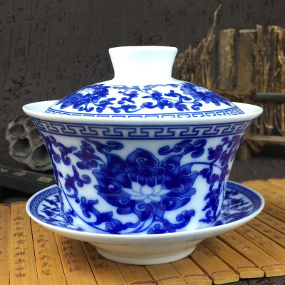 景德镇大号陶瓷盖碗青花瓷敬茶杯三泡炮台八宝茶碗三才碗马蹄饭