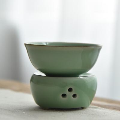陶瓷功夫茶具滤茶器 龙泉青瓷梅子青茶漏茶滤套装 炉式茶道零配