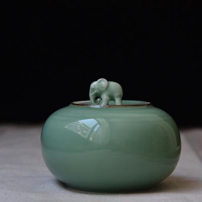 太平有象 龙泉青瓷象钮茶叶罐圆形手工茶叶包装罐陶瓷储茶罐2两装