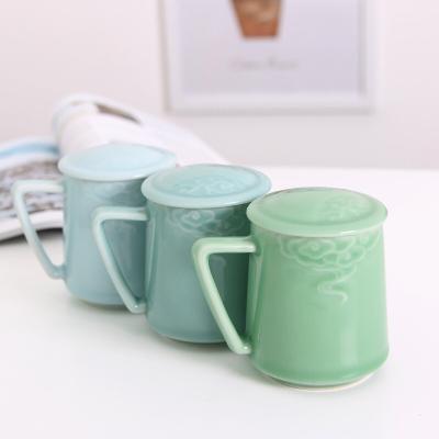 龙泉青瓷茶杯陶瓷马克杯会议室带盖泡茶杯子男女士办公杯家用水杯 3色可选