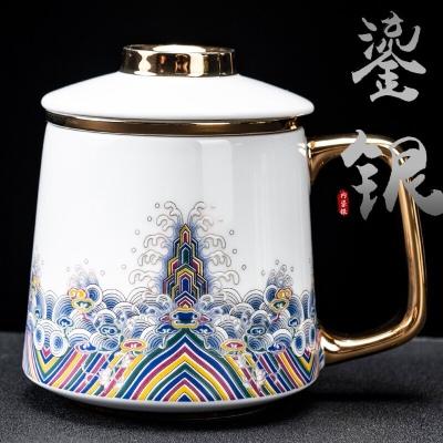 景德镇珐琅彩鎏银马克杯陶瓷带盖过滤茶水分离泡茶喝水杯个人办公杯