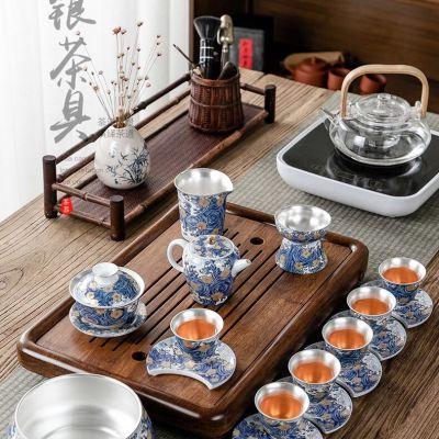珐琅彩鎏银茶具套装整套家用陶瓷功夫泡茶壶银盖碗银茶杯礼盒