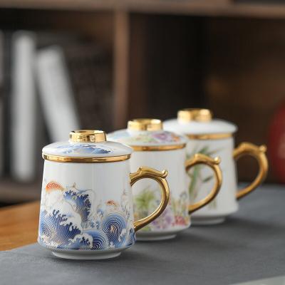 德化白瓷羊脂玉瓷水杯个人杯茶杯办公杯带盖过滤主人会议杯