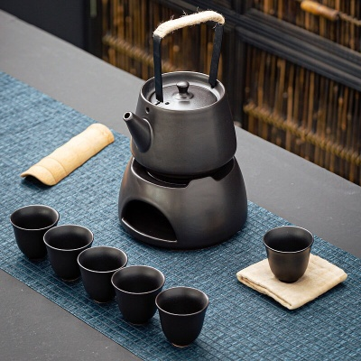 日式炭烧提梁壶茶具套装温茶底座电陶炉煮茶壶耐热陶瓷水壶喝茶杯