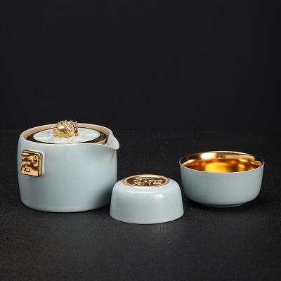 汝窑鎏金吃不完花不完快客杯旅行茶具景德镇陶瓷金杯子泡茶壶金杯
