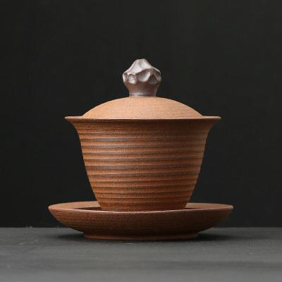 日式粗陶三才盖碗大号手工茶碗陶瓷无釉老岩泥泡茶器雅石功夫茶具