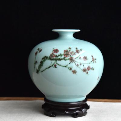 龙泉青瓷名家手工大花瓶 手绘石榴瓶 客厅玄关办公室陶瓷艺术摆件