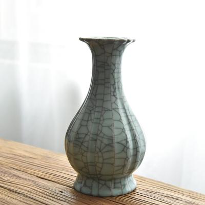 现代中式花瓶摆件龙泉青瓷仿古白菜瓶百财瓶客厅玄关书房风水装饰