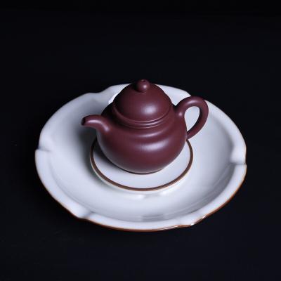 龙泉青瓷王文铁胎茶具 月白釉壶承 陶瓷手工干泡台 高档壶托茶船
