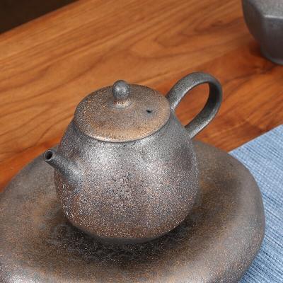 日式粗陶鎏金泡茶壶复古功夫茶具单壶手抓壶家用陶瓷禅意茶道茶壶