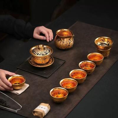 建盏茶具套装金油滴功夫茶具黄金盏鎏金茶具盖碗套装家用24K金杯
