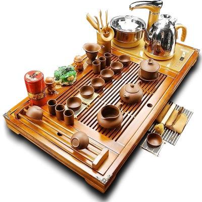 几何艺创功夫茶具套装家用特价紫砂陶瓷实木茶盘整套茶杯全自动