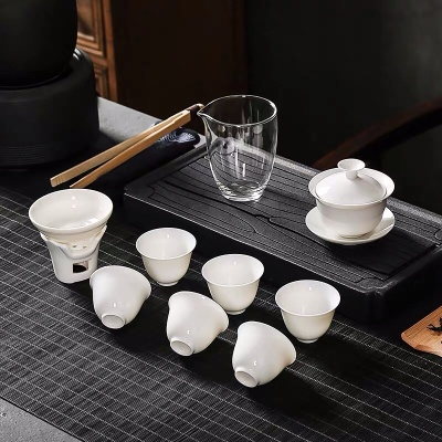 斗茶专用高白瓷家用功夫茶具盖碗泡茶器陶瓷玻璃套装便携礼盒