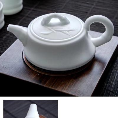 羊脂玉瓷素烧泡茶壶陶瓷小茶壶中国风仿古茶壶