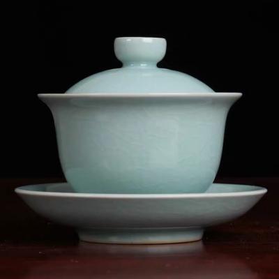 杨聚斌老师汝窑天青色开片可养三才盖碗 180毫升 品茗盖碗