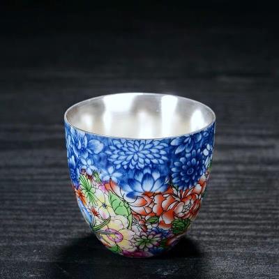 银茶杯 999纯银手工鎏银茶杯陶瓷功夫茶具珐琅彩主人杯单杯茶盏