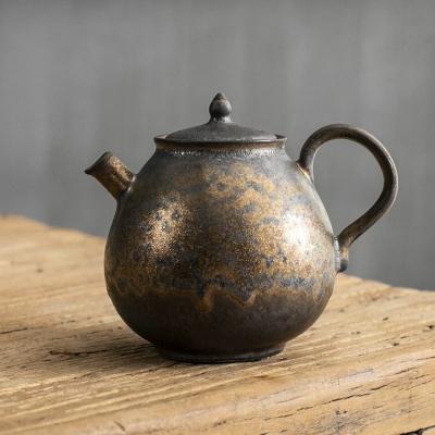 中式复古铁锈鎏金釉茶壶泡茶单壶家用陶瓷功夫茶具铁锈仿古西施壶