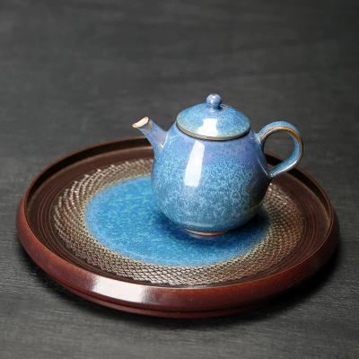 慢茶道浮翠蓝玉干泡台茶盘陶瓷壶承托盘家用茶壶茶台茶承茶具配件