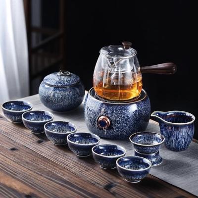 电陶炉煮茶器均窑带过滤茶具套装玻璃蒸汽茶壶家用普洱煮茶炉礼盒