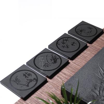 厂家直销茶具用品 乌金石刻茶杯垫隔热垫 方形石板餐垫咖啡垫定制 htt