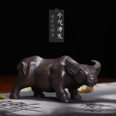 紫砂茶宠牛气冲天长18c高9.2