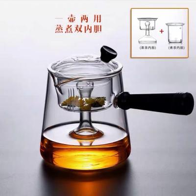 黑檀木侧把蒸煮茶壶加厚日式木把泡茶壶耐热玻璃煮茶器玻璃烧水壶