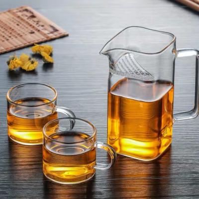 方口玻璃杯四方加厚分茶器杯漏一体办公室泡茶杯月牙男女士绿茶杯