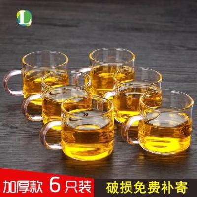 加厚高硼硅玻璃耐热耐高温小品杯小茶杯套装无铅把杯品茗杯小杯子