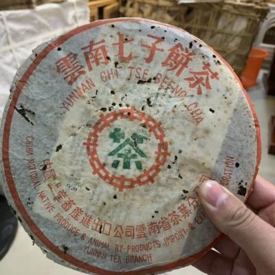 2001年中茶小七绿印青饼。纯干仓