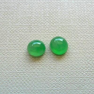 翡翠玉石冰种阳绿蛋面一对H0325-5价格:900尺寸:6.4*6