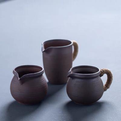 粗陶复古无釉麻绳公道杯陶瓷均杯分茶器简约茶海日式功夫茶具公杯