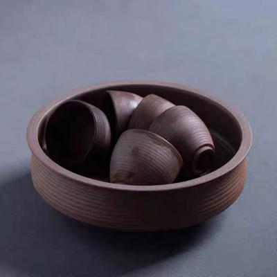 粗陶无釉茶洗日式陶瓷家用小号水盂建水笔洗创意功夫茶具配件