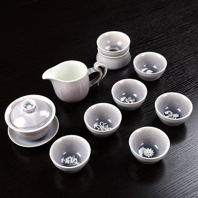 景德镇镶银创意茶具办公陶瓷整套功夫窑变月光茶壶公道茶杯套装 :