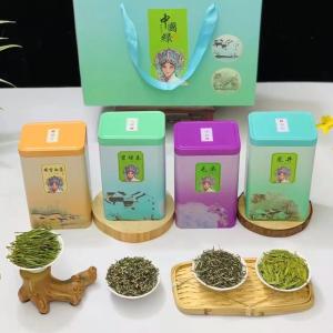 四大绿茶毛尖 碧螺春 安吉采茶 龙井四合一茶叶礼盒罐装新茶2021