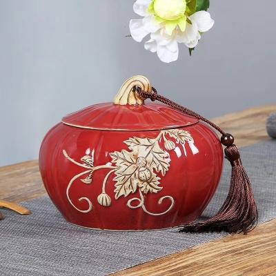 哥窑汝窑开片陶瓷茶叶罐大号一斤装普洱茶罐密封陶罐香粉罐醒包邮