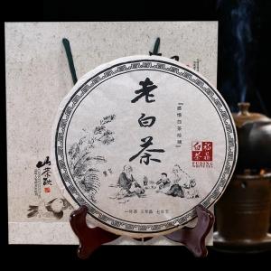 福鼎白茶 茶叶 特级老白茶寿眉礼盒装 福鼎白茶饼 350g
