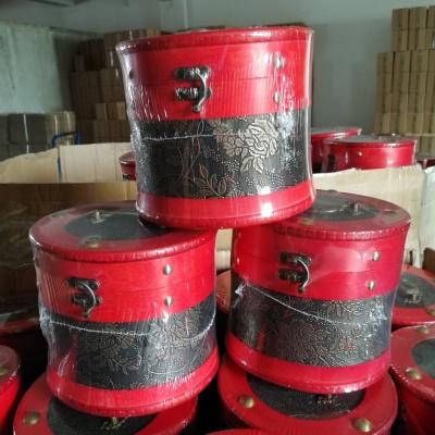 云南老茶头普洱熟散茶红色圆木桶老班章古树金芽醇香茶叶礼盒500g
