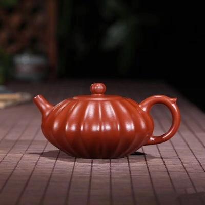 喝茶人的必备—紫砂壶.筋纹器合欢壶【泥料】原矿大红袍【容量】200cc