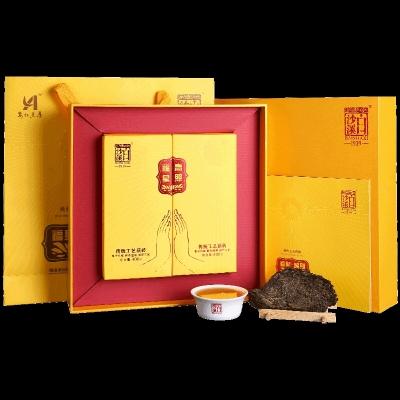 传统安化黑伏茶 白沙溪佛系禅茶福星高照礼盒装 金花茯砖茶800g