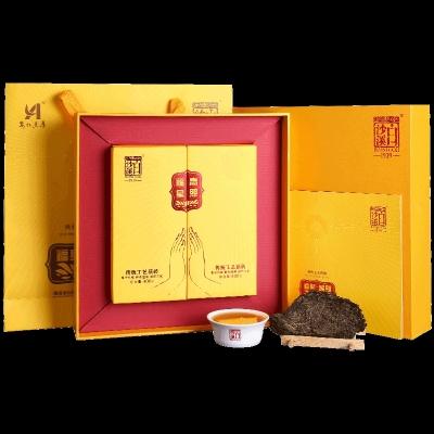 湖南安化黑伏茶 白沙溪佛系禅茶福星高照礼盒装 金花茯砖茶800g