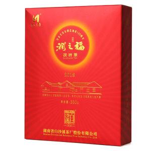 湖南安化黑茶白沙溪润之福茯砖茶330克  一级安化黑茶金花茯砖茶