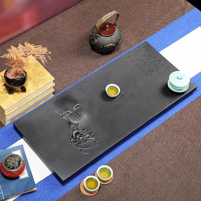 乌金石茶盘家用简约天然黑金石材茶具套装托盘小茶海大号石头茶台