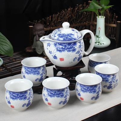 景德镇双层功夫茶具套装 国色天香青花瓷大号茶壶隔热防烫茶杯6杯