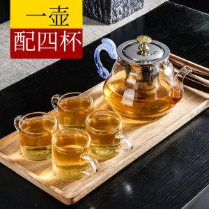 玻璃茶壶加厚耐高温不锈钢过滤700ml送4杯蓝把圆鼓壶电磁炉煮茶壶
