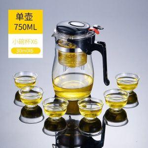 飘逸杯玻璃泡茶壶花茶壶加大容量耐热玻璃茶具750ml送6杯